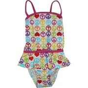 Toddler Girl Swimsuits - Cute Toddler Girl Bathing Suit in Colorful Peace Sign Design with Skirt Look, Pink Trim and Criss-Cross Back.  Fun!  Available in Sizes 2T, 3T and 4T. by Pink Platinum. Matching Swimsuit in Infant Girl