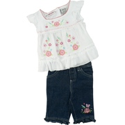 Beautiful Infant Girl Capri Set with Gauze Top with Flower and Butterfly Applique and Embroidery in Pastel Colors,   Two Buttons in Back and Cap Sleeves.  Pull-on Capri Jeans Have Flower and Butterfly Embroidery and Ruffled Hem.  So Sweet!  Available in Sizes 12, 18 and 24 Months by Young Hearts