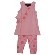 Darling capri set with side ruffled top with sequined strap and matching large floral pink capris. Available in sizes 12 and 18 months by ABS Kids