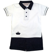 This great short set consists of a white polo shirt trimmed in a black and white striped collar, sailboat and cuffs together with black and white striped pull-on shorts with hemmed cuffs and elastic back.  This is one sharp outfit!  Available in sizes 2T, 3T and 4T by Boutique Collection