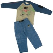 "Toddler Boy Clothes - Rugged Toddler Boy Denim Pant Set with Explorer Top in Navy and Tan with Embroidered Airplane on Front and Airplane Screen on one Arm and Mesh Pocket on the other.  Denim Pull-on Pants with Half Elastic  Back and Buckle Front. Two Front Pockets and One Cargo Pocket.  Rubber Jeep ""Patch.""  Available in Sizes 2T, 3T and 4T. by Artisans"
