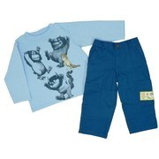 "Where the Wild Things Are Boy Clothing Size 4-7 - Boy 2 pc. Pant Set with Excellent Wild Things Transfer on Sweatshirt and ""Where the Wild Things Are"" Patch on 100% Cotton Elastic Waist Pant.  Available in Sizes 4, 5, 6 and 7.