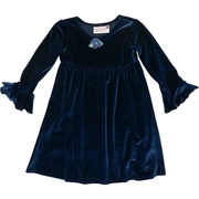 Cute Navy Blue Velour Dress with Flower at Neckline and Flutter Cuffs.  Simple, yet Elegant.  Available in Sizes 2T, 3T and 4T.  Made in the USA by Kash Ten