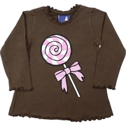 Toddler Girl Clothes, Cute Long Sleeved Top in Brown with Pink Lollipop Screening.  Lettuce Neckline, Sleeve and Hem.  Too Cute. Great with Leggings! Available in Sizes 2T, 3T and 4T  Made in the USA by Flap Happy