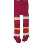Cute toddler girl tights in stripes of hot pink, red, orange and white.  Add some color to her outfit!  Toddler size.