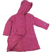 This dress coat by Calvin Klein Jeans is adorable with its hot pink color with flecks of blue, ruffle trim, large four button closure (one inside) and two (faux) pocket tabs. Cute!  Available in sizes 2T, 3T and 4T