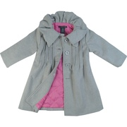This dress coat by Calvin Klein Jeans is so feminine with its pin tucks and fancy collar. It has a four button closure with one inside button. Adorable!  Available in sizes 2T, 3T and 4T