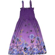 Cute Tween Girl Sundress with Smocked Top in Butterfly Garden Pattern.  Cool and Comfy!  Available in Purple and Silver/Black in Sizes Small (7/8), Med (9/10), Lg (11/12) and XL (13/14) by Ella