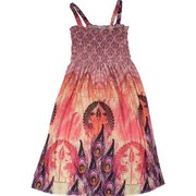 Cute Tween Girl Sundress with Smocked Top and Colorful Peacock Pattern.  Cool and Comfy!  Available in Fuchsia and Teal in Sizes Small (7/8), Med (9/10), Lg (11/12) and XL (13/14) by Ella