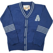 This is a cute letterman sweater that would look great dressed up or down with jeans or dress pants.  Available in Blue, Black, Grey and Red in Sizes 4, 5, 6 and 7 (Also available in Toddler Boy)