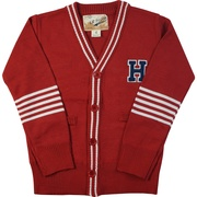 This is a cute letterman sweater that would look great dressed up or down with jeans or dress pants.  Available in Blue, Black, Grey and Red in Sizes 2T, 3T and 4T (Larger sizes available in 4-7)
