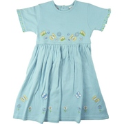 Cute Girls Appliqued Dress in 100% Cotton by Cotton Kids with Flower and Butterfly Appliques and Matching Color Scheme in the Ruffle Trimmed Sleeves.  Available in Sizes 4, 5 and 6.  (See Matching Sister Dress in Tween Girl Sizes 7-10).  So Sweet!