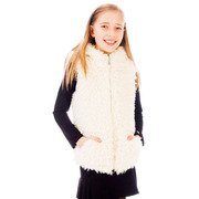 Exceptional ultra plush hooded vest has two front pockets, taping at the back of the neck and a lining that will keep her warm & cozy.  This adorable faux fur vest will elevate any outfit to fabulous!  Available in sizes 7/8, 10/12, 14 (see also in sizes 4, 5, 6) by Limeapple