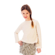 Adorable cream colored sweatshirt with a high-low drape.  The back has a center pleat and a magnificent butterfly transfer.  Looks great with skirts, leggings and jeans! (sold separately)  Available in sizes 4, 5 and 6