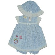 Sweet 3 Pc Infant Girl Dress Set with Light Blue Burnout Eyelet Popover Sundress with Applique and Embroidery, Cap Sleeves, Ribbon Trim, Matching Sunhat and Solid Light Blue Panty with Elastic Shirred Legs.  Very Cute!  Available in Sizes 12, 18 and 24 months.  by Little Bitty