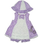 Infant Girl Clothes - Adorable Infant Girl 3 Pc Dress Set Consisting of Fully Lined Purple Burnout Eyelet Dress with White Eyelet Panel with Dainty Pleats and Bow, Appliqued Flowers, Matching Sun Hat and Solid Purple Bloomer. 3 Button Closure at Back.  Available in Sizes 12, 18 and 24 months. by Little Bitty