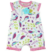 Adorable Baby Girl Romper by Baby Lulu in Birdies Pattern with Pink Trim on Neckline, Sleeves and Hemline. Turquoise 3D Felt Flower Adorns the Front.  So Cute!  Available in 3, 6 and 9 Months. (See Matching Sister Outfits in Toddler and 4-6X)