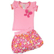 Toddler Girl Kiki Bubble Skirt Set by Baby Lulu in Sweet Treats Pattern with 3D Felt Butterfly on Soft Pink Striped Top and Lined Bubble Skirt in Floral/Butterfly Pattern with Striped Waistband that Matches Top. Fun for Spring!  Available in Sizes 2T, 3T and 4T (See Matching Sister Outfit in 4-6X)