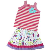 Toddler Girl Posie Skirt Set by Baby Lulu with 3D Posies on the Front of the Striped Tank Top Trimmed in Pink Ruffles together with a Pull-on Skirt in Birdies Pattern with Hot Pink and Purple Ruffle Trim.  Sweet!  Available in Sizes 2T, 3T and 4T (See Matching Birdies Sister Outfits in Baby and 4-6X)