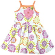 Fun Toddler Girl Alexa Tank Dress by Baby Lulu in Bliss Pattern with 3D Striped Flower on a Colorful Tank Dress with Peach, Lime and Raspberry Sherbert Flowers against a White Background and Peach Trim. Darling!  Available in Sizes 2T, 3T and 4T (See Matching Sister Dress in 4-6)