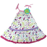 Girls Edith Tank Dress by Baby Lulu in Birdies Pattern with 3D Flower, Shirred Neckline and Colorful Ruffle Trim Adorn this Dress with all-over Bird Pattern. Faux Ties at Shoulders. Pretty!   Available in Sizes 4, 5, 6 and 6X (See Matching Sister Outfits in Baby and Toddler)