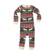 Cute infant union suit, long johns in a moose fair isle pattern. Snaps at legs and back of neck.  Available in sizes S (6 mos) M (12 mos) and L (18 mos) by Lazy One
