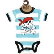 This adorable 100% cotton striped onesie has a pirate screen print that will make you say rrrr really cute!  Great for a Halloween costume. Available in sizes 6, 12 and 18 months (find matching socks in accessories) by Lazy One  **We also have girls pirate onesies