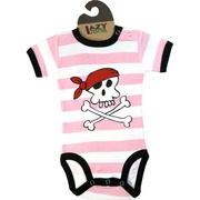 This adorable 100% cotton striped onesie has a pirate screen print that will make you say rrrr really cute!  Great for a Halloween costume. Available in sizes 6, 12 and 18 months (find matching socks in accessories) by Lazy One  **We also have boys pirate onesies