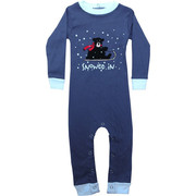 Adorable Lazy One union suit with a black bear on a sled.  Snaps at legs and back of neck.  Available in sizes S (6 mos) and L (18 mos) NOTE: garment is not flame resistant, should fit snugly
