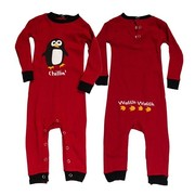 Fun red infant union suit, long john with a cute penguin screen.  Snaps at legs and back of neck.  Available in sizes S (6 mos) M (12 mos) and L (18 mos) by Lazy One - NOTE: garment is not flame resistant, should fit snugly