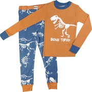 Great toddler pajamas with a t-rex skeleton screen print on the top that reads