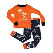 Great boys pajamas by Lazy One with a glow in the dark t-rex skeleton screen print on the top that reads Bone Tired and navy blue bottoms with various dinosaur skeletons. Cute! Available in sizes 6, 8 and 10 *Wear snug fitting, not flame resistant.