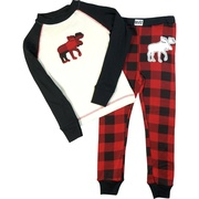 These adorable red and black plaid pajamas have a moose cutout on the top and bottom. Great for boys or girls!  Available in sizes 2T, 3T and 4T (see also sizes 6 and 8, 10) *Wear snug fitting, not flame resistant. **Find matching socks and slippers in Accessories