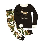 Cute boys pajamas with Young Buck screen on long sleeved top with camouflage bottoms.  These will keep him warm!  Available in sizes 8, 10 (see also 2T-4T) by Lazy One -NOTE:  This garment is NOT flame resistant, should fit snugly.