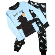 These cute pajamas feature a brown bear with his arms wrapping around the back of the top with the words