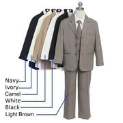 Boys Suits by Sweet Kids - Fabulous 5 pc  Boys Suit for Special Occasions and Holidays that includes a Lined, 3-Button Jacket with Inside Pocket, Lined Vest, Long Sleeve White Collared Shirt, Tie and Pull-On Pants. Available in Black and Tan in Sizes 5, 6, 7.  **(See Size Chart to Aid in Ordering Correct Size). Other Colors and Sizes Available (up to size 20 at additional cost), Contact Us. (If not in stock, may take 7-10 days delivery time).