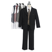 Young Boys Formal Wear and Special Occasion Suits by Sweet Kids, Fabulous 5 pc Black Formal Suit with Three Button Coat, White Dress Shirt, Pants with Elastic Back, Zip and Button Fly, Colored Vest, Tie and Handkerchief. Great for Weddings, Holidays or any Special Occasion!  Available in Sizes 5, 6, 7, 8 and 10.  **(See Size Chart to Aid in Ordering Correct Size). Other Colors and Sizes Available Upon Request -up to size 20. Additional cost may apply, (If not in stock, may take 7-10 days delivery time). Contact Us.