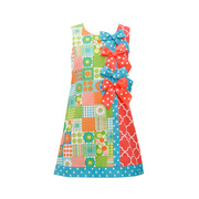 This is a vibrant A-line dress in a wild pattern with ribbon bows at the side seam and polka dot ribbon trim at hem. Lined at chest and buttons at back.  Fun!  Available in sizes 4, 5, 6, and 6X by Bonnie Jean
