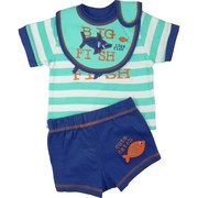 Infant Boy Clothing - Cute 3 Piece Set Including Striped Tee with Big Fish Screen Print and Shark Applique, Contrasting Trim on Neck and Sleeves, Matching Bib and Pull-On Shorts with Fish Applique on Back.  Available in Sizes 12, 18 and 24 Months.  See Smaller Sizes in Newborn Boy. by Mon Cheri Baby