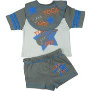 Infant Boy Clothing - Bright Boys Short Set with Extensive Rock On Embroidery and Appliques on Grey Tee with Snaps at Shoulder, Dark Grey Bib with Appliques and Embroidery and Velcro Closure and Matching Dark Grey Shorts with Faux Fly on Front and Rock On Applique on Back.  Available in Sizes 12, 18 and 24 Months.  See Smaller Sizes in Newborn Boy.  by Mon Cheri Baby