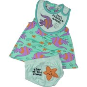 Infant Girl Clothing - Vibrant Infant Girl Dress Set with Cotton Dress in Angel Fish Print with Elastic Neck and Arms, 3 Snap Closure at Back, Appliqued Bib with Velcro Closure and Teal Striped Panty with Screen Print and Star Fish Applique.  Adorable!  Available in Sizes 12, 18 and  Months . See Smaller Sizes in Newborn Girl. by Mon Cheri Baby