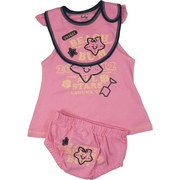 Infant Girl Clothing - Cute Infant Girl Dress Set with Cotton Jumper with Weathered Beach Bum Screen Print, Snap Straps with Ruffle Trim, Embroidered and Appliqued Bib with Velcro Closure and Matching Panty with Screen Print and Star Fish Applique on Back.  Adorable!  Available in Sizes 12, 18 and 24 Months . See Smaller Sizes in Newborn Girl. by Mon Cheri Baby
