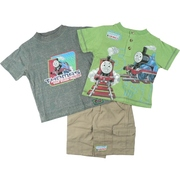 Three Piece Short Set with Thomas The Tank Engine Screen Print on a Grey Tee and a Green Buttoned Top.  Khaki Shorts with Half-Elastic Waist and Cargo Pockets.  Too Cute!  Available in Sizes 12, 18 and 24 months. by Nannette