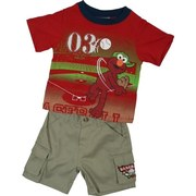 Infant Boy Clothing - Cute Infant Boy Short Set with Elmo Playing Baseball with Embroidered 03 and Pull-On Khaki Cargo Shorts with Elastic Back and Elmo Baseball Patch.  Available in Sizes 12, 18 and 24 Months. Sesame Street Clothing by Nannette