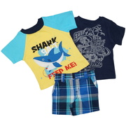 Cute boys shorts set with extensive shark appliquéd t-shirt, velour screened t-shirt and madras plaid shorts with half elastic back, velcro front closure.  Available in sizes 12 and 18 months by Nannette