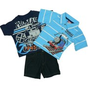 Infant Boy Clothing - Adorable Infant Boy Short Set with Thomas the Tank Engine Transfer and Embroidery on Striped Polo Shirt,  Thomas & Friends Transfer on Navy Tee with Ribbed Neckline and Pull-on Dark Denim Shorts with Elastic Back.  All Aboard!  Available in Size 18 Months
