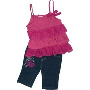 Infant Girl Clothes - Nannette Infant Girl Capri Set with Tiered Hot Pink Top with Lace Bow and Trim, Spaghetti Straps and 3 Button Closure at Back. Denim Capris with Patches and Embroidery.  Very Cute!  Available in Sizes 12, 18, and 24 Months