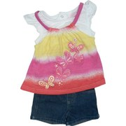 Infant Girl Clothes - Nannette Brand Infant Girl Clothes Adorable Infant Girl Short Set with Tie Dye Effect Top with Sparkly Butterfly Transfers, Cap Sleeves and Snap Back.  Pull-on Denim Shorts with Elastic Back and Rolled Cuffs.  Available in Sizes 12, 18 and 24 Months