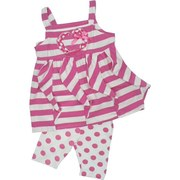 Infant Girl Clothing, Nannette Brand Infant Girl Two Piece Capri Set with Pink and White Stripe Stylized Top with Heart Patch with Bow and Pink Polka Dot Capris.  Adorable!  Available in Sizes 12, 18 and 24 Months