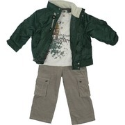 Toddler Boy Clothing by Nannette - Warm Toddler Boy Jacket Set with Green Polyester Jacket with Covered Zip, Toggle Buttons, Front Pockets, Ribbed Hem and Cuffs, Ranger Patch, Oatmeal Colored Thermal Shirt with
